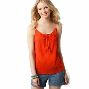 NWT LOFT Orange Split Placket Cotton Gauze Tank PM